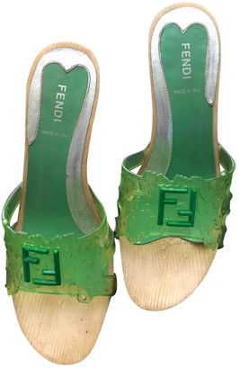 Fendi Green Rubber Mules & Clogs