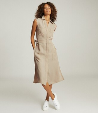 Reiss Effie - Utility Shirt Midi Dress in Stone