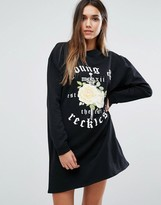 Missguided Rose Print Logo Sweater Dress