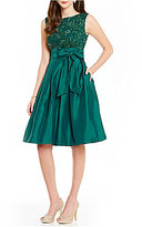 Jessica Howard A-Line Embroidered Bodice Taffeta Skirt Tie-Belt Party Dress