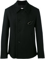 Maison Margiela buttoned jacket - men - Cotton/Leather/Viscose/Wool - 48