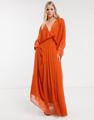 Asos Design DESIGN dome sleeve maxi dress-Brown