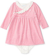 Ralph Lauren Long-Sleeve Striped Velour Dress w/ Bloomers, Cream/Pink, Size 9-24 Months