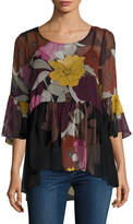Tracy Reese Women's Silk Printed Flounce Tunic