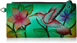 Anuschka Anna By Anna by AnuschkaWomen's Genuine Leather Organizer Wallet | Hand Painted Original Artwork | Five Credit Card Holders Drivers License | Birds in Paradise Green
