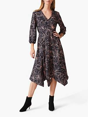 Phase Eight Molly Abstract Floral Print Midi Dress, Navy/Pink