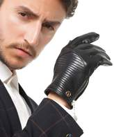 Nappaglo Men Warm Genuine Nappa Leather Winter Driving Gloves / Metal Zipper