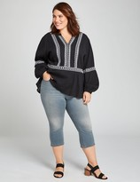 Lane Bryant Signature Fit High-Rise 3-Button Pedal Jegging - Charcoal