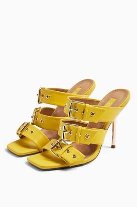 Topshop Womens Roxana Yellow Triple Buckle Heels - Yellow