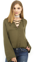 Bella Dahl Bell Sleeve Lace Up in Pine