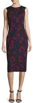 Oscar de la Renta Sleeveless Poppy-Print Sheath Dress, Bordeaux/Black