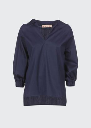 Marni Poplin High-Low Puff Sleeve Shirt