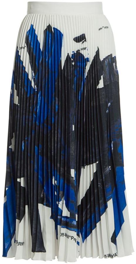 Off-White Brushstroke Plisse Silk Midi Skirt