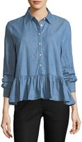 The Great The Ruffle Button-Front Oxford Denim Shirt