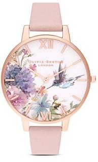 Olivia Burton Hummingbird & Floral Motif Watch, 38mm