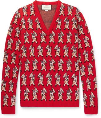 Gucci Dancing Pig-Intarsia Wool Sweater