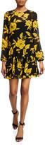 Jay Godfrey Cleo Floral-Print Long-Sleeve Drop Waist Mini Dress