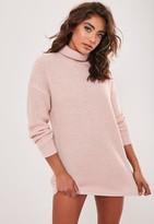 Missguided Petite Pink Basic Roll Neck Jumper Dress