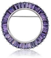Bling Jewelry 925 Silver Baguette CZ Simulated Amethyst Circle of Life Pin