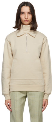 Jacquemus Beige Fleece Le Double Sweat Zip Hoodie