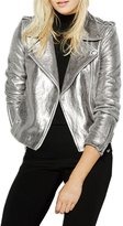 Haoduoyi Womens Causal Soft PU Metalic Crop Top Biker Jacket(S,)