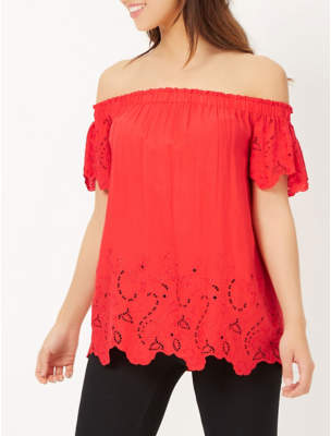 George Broderie Anglaise Bardot Top