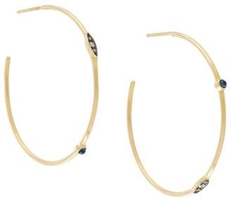 Noor Fares 18kt yellow gold Mandorla asymmetrical hoop earrings