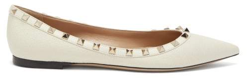 Valentino Rockstud Grained Leather Ballet Flats - Womens - Cream
