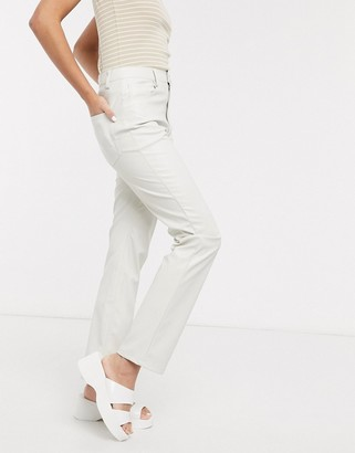 Weekday Voyage faux leather trousers in light grey
