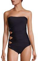 Carmen Marc Valvo Classic Weave Bandeau Twist One-Piece Swimsuit