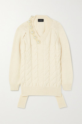 Simone Rocha Oversized Faux Pearl-embellished Cable-knit Sweater - Cream