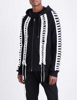 Kokon To Zai Lace-up cotton-jersey hoody