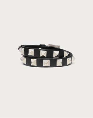 Valentino Rockstud Calfskin Double-strap Bracelet Women Black 100% Pelle Di Vitello - Bos Taurus OneSize