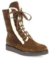 Aquatalia Payton Suede & Shearling Lace-Up Boots