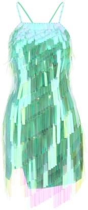 ATTICO MINI DRESS WITH SHADED SEQUINS 40 Green, Metallic