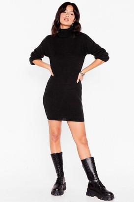 Nasty Gal Womens Get Straight to Knit Turtleneck Jumper Dress - Black - S
