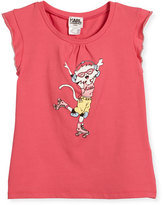 Karl Lagerfeld Flutter-Sleeve Choupette Skating Jersey Tee, Pink, Size 6-10