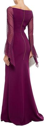 Roland Mouret Hafren Lace-paneled Stretch-crepe Gown