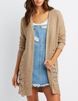 Charlotte Russe Destroyed Open-Front Shaker Stich Cardigan
