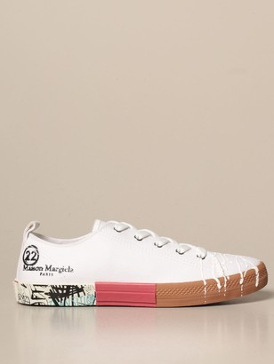 Maison Margiela Spliced Sneakers In Canvas With Painting Effect Detail