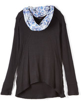 Almost Famous Black Hi-Low Top & Scarf - Girls