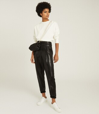 Reiss Abby - High Waisted Shimmer Trousers in Black
