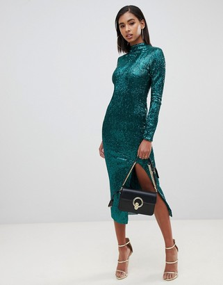 Club L London high neck all over sequin open back midi dress-Green