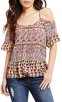 Patrons Of Peace Printed Ruffle Cold Shoulder Top