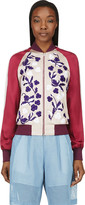 Jonathan Saunders Blush Floral Embroidery Cecily Bomber Jacket