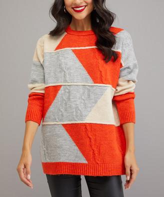 Milan Kiss Women's Pullover Sweaters GREY-ORANGE - Gray & Orange Geometric Color Block Sweater - Women
