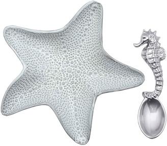 Mariposa Starfish Ceramic Canape Plate and Spoon