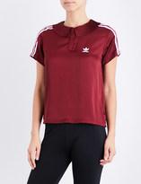 adidas 3-Stripes pleated satin polo shirt