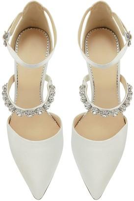 Monsoon Vixie Embellished Strap Bridal Court Shoe - Ivory