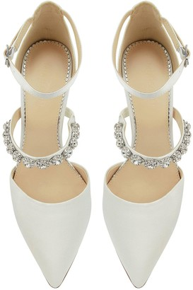 Monsoon Vixie Embellished Strap Bridal Court Shoe - Ivory